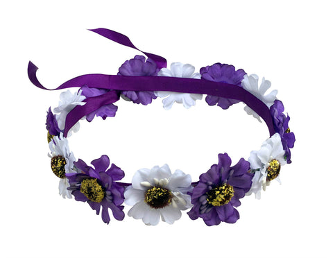Light Up White & Purple Hippy Flower Crown
