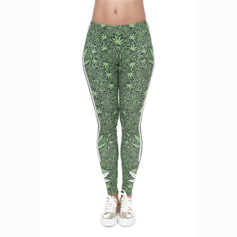 Marijuana Leaf Printed Leggings