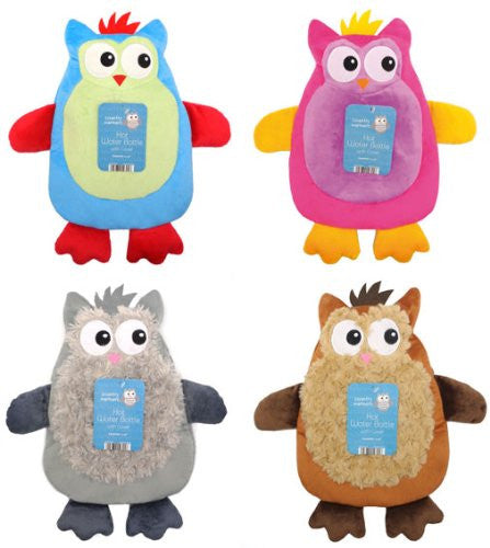 Hot Water Bottle with Owl Design Plush Cover