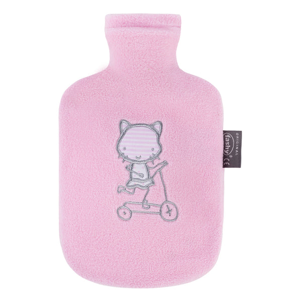 fashy small kids pink fleece hot water bottle