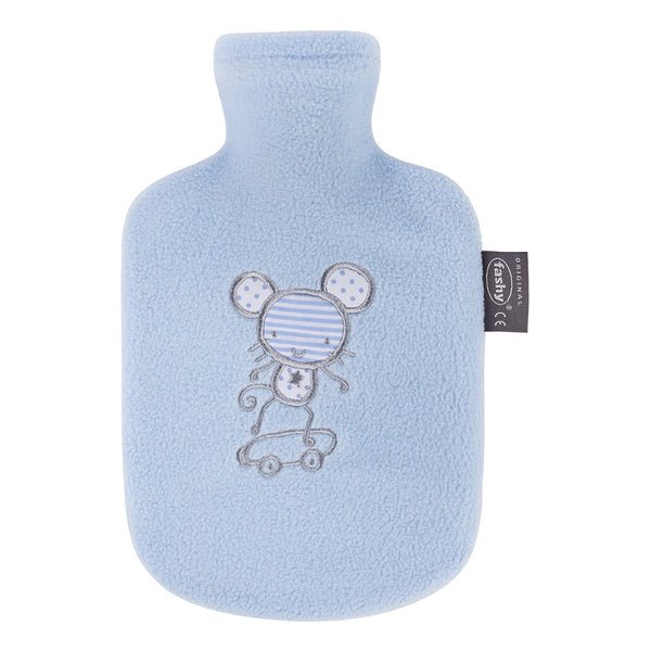 fashy small kids blue mouse fleece hot water bottle