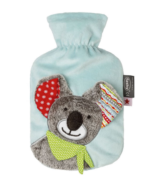 fashy hot water bottle with koala bear soft plush cover