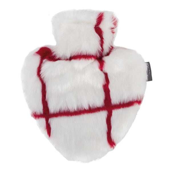 Love heart shape hot water bottle and faux fur cover