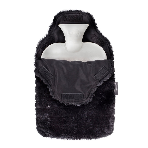 fashy charcoal faux fur hot water bottle