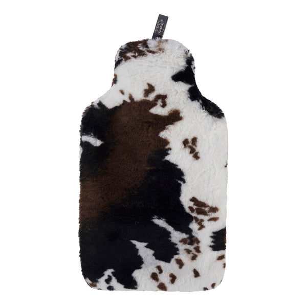 Fashy Hot Water Bottle with Cow Design Soft Faux Fur Cover