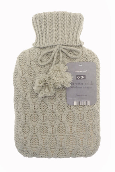 hot water bottle and chunky knit cover