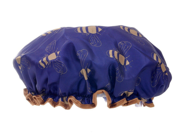 blue and gold bee satin shower cap