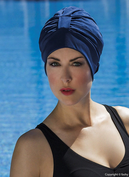 Fashy Ladies Navy Turban Style Swimming Cap with  Headband and Velcro Fastener