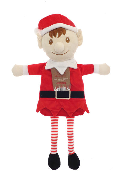 Childrens Hot water Bottle with a Soft Plush Elf Cover