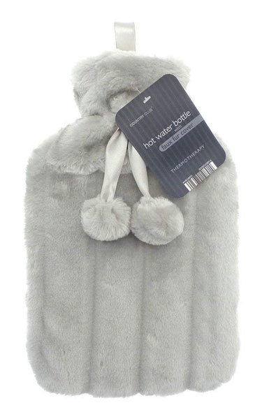 faux fur hot water bottle grey
