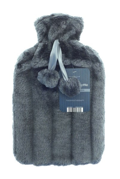 Hot water bottle and faux fur cover in slate grey