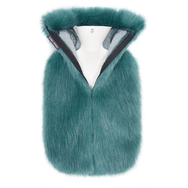 helen moore hot water bottle with faux fur cover in sea green