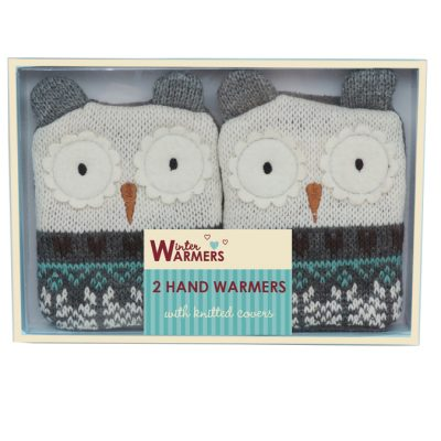 reusable hand warmers and knitted owl covers