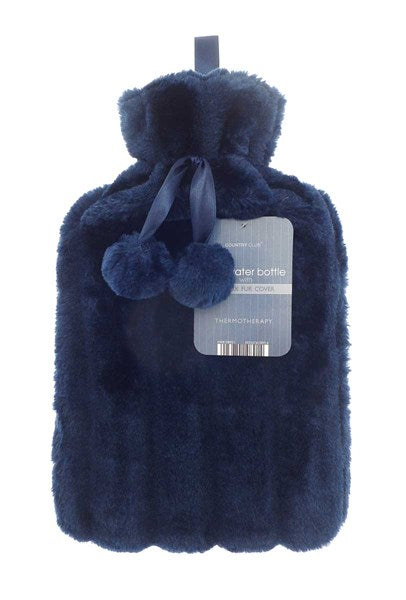 faux fur hot water bottle blue