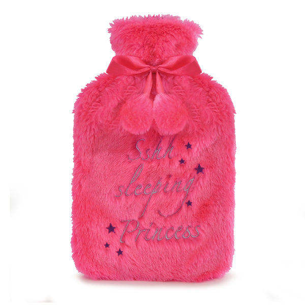 hot water bottle with faux fur cover