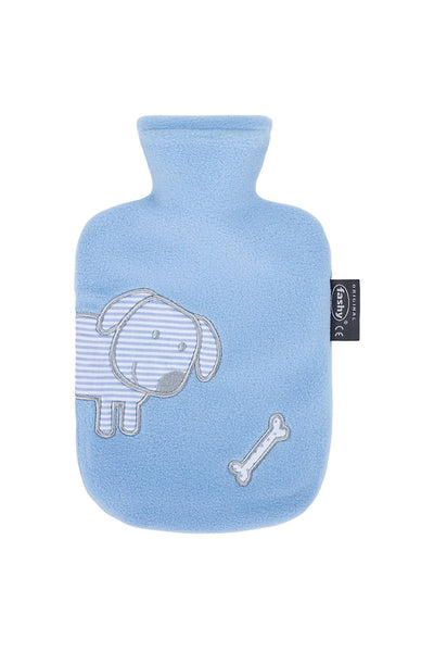 fashy small kids blue dog  fleece hot water bottle