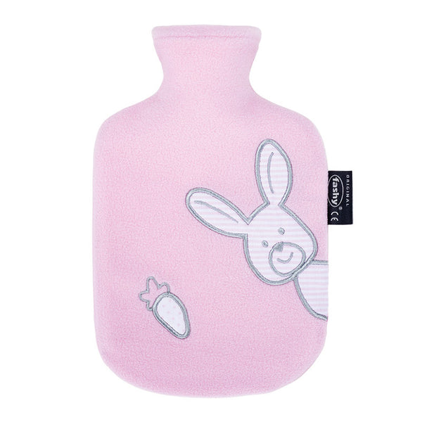 kids hot water bottle with a rabbit cover
