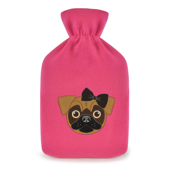 hot water bottle with pug cover