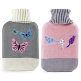 Hot Water Bottle and Knitted Cover in a Buttefly or Birds Design