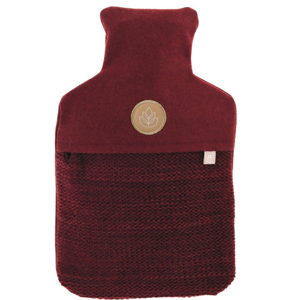 hot water bottle and luxury felt and padded knit cover