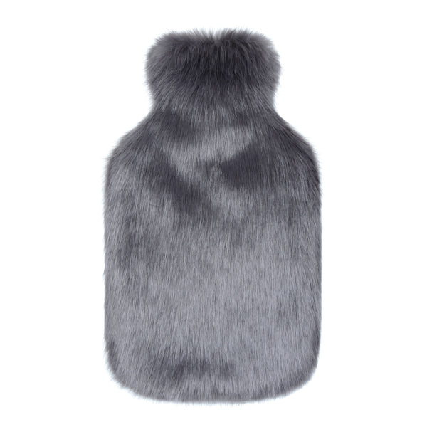 helen moore hot water bottle with faux fur cover in steel