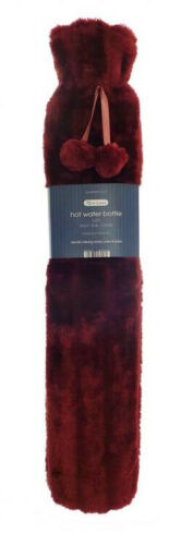 long hot water bottle and cherry faux fur cover