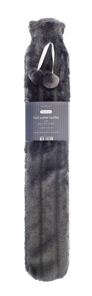long hot water bottle with faux fur cover in slate grey