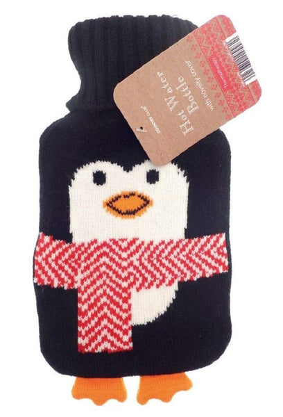 small mini hot water bottle and knitted penguin cover