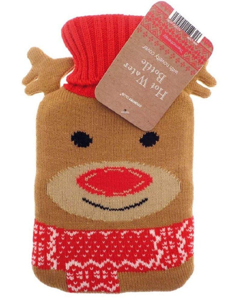 small mini hot water bottle and knitted reindeer cover