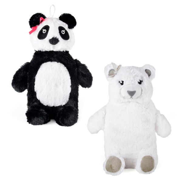 hot water bottle with a panda or polar bear cover
