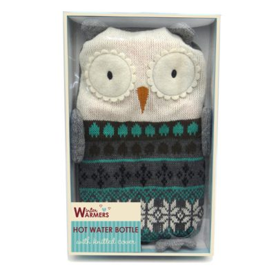 Small Hot Water Bottle with a Knitted Grey Owl Cover 1 Litre