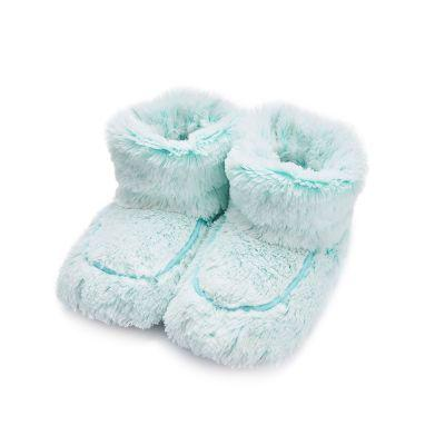microwave slipper boots in mint faux fur