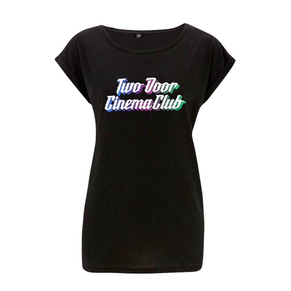 Color Logo Black Rolled Sleeve Ladies T-Shirt