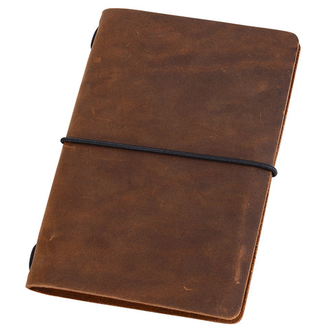 Pocket Travelers Notebook, Refillable Leather Travel Journal for Men & Women, Notebook Cover for Field Notes, Moleskine Small 3.5 x 5.5 Inches, Brown