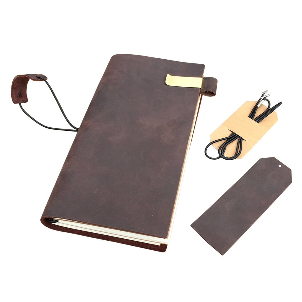 Traveler's Notebook with Pen Holder + Leather Bookmark