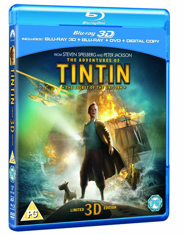 The Adventures of Tintin: The Secret Of The Unicorn (Blu-ray 3D + Blu-ray + DVD)