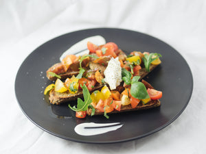 Heirloom tomatoes bruschetta