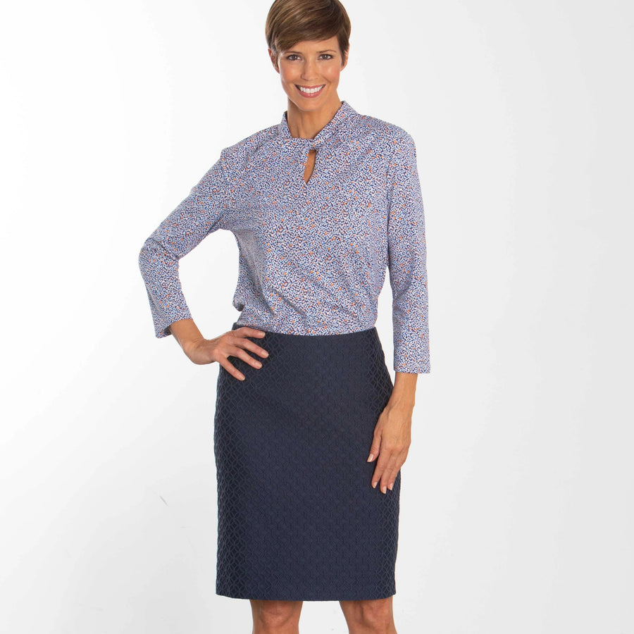 Chuck Navy Pencil Skirt