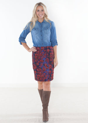 Rose Brocade Custom Pencil Skirt
