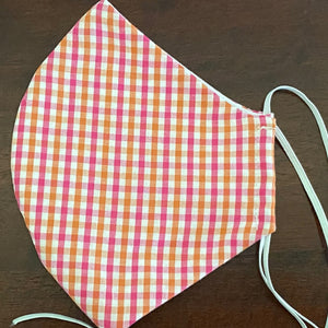 Pink Orange Gingham Mask