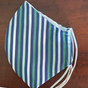 Green and Navy Striped Mask