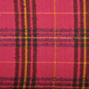 Magenta Sunrise Wool Plaid Skirt