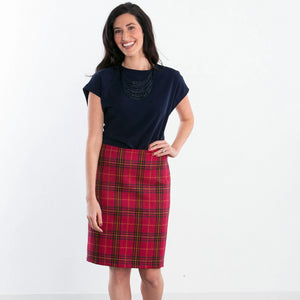 Magenta Sunrise Wool Plaid Custom Pencil Skirt