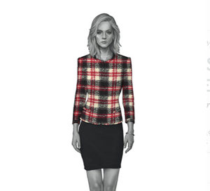 Cream Black Red Tartan Dress