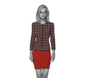 Navy White Red Houndstooth Dress