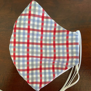 Red and Gray Plaid Mask