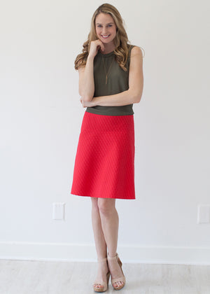 Valentino Red Cotton Custom Aline Skirt