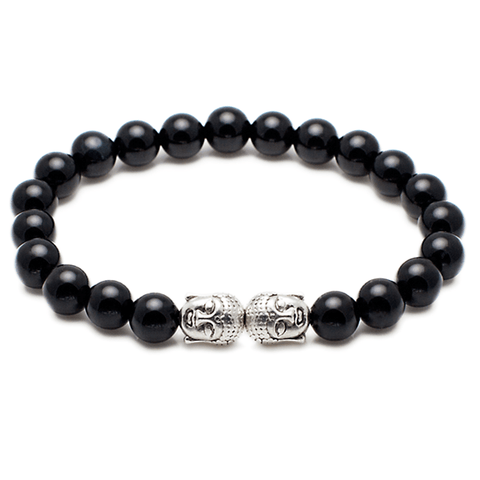 Exclusive King's Buddha Heads and Black Onyx Bracelet-King's Rush-King's Rush