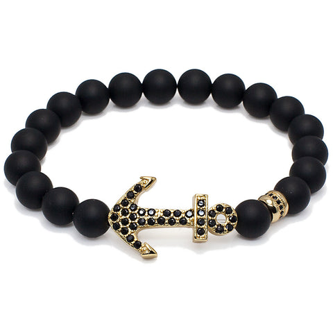 Black CZ Large Anchor Beaded Bracelet