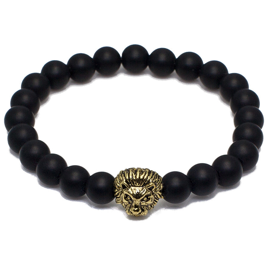 Plated Lion Head + Agate Beads Bracelets